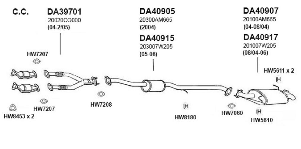 Ansa Silverline Da40905 Exhaust Muffler Diagram Center Fits 2004 Infiniti G35